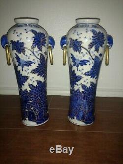 Qianlong Signed Antique Chinese Blue White Porcelain PAIR Floral butterflies