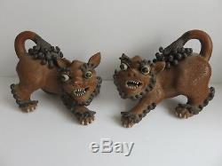 RARE PAIR 19thC ANTIQUE CHINESE YIXING FOO FO FU DOGS LIONS SEAL MARK