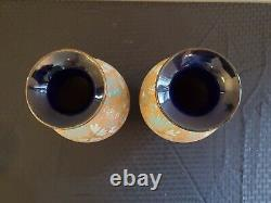 RARE PAIR Doulton Lambeth Vase Slaters Patent Chine Ware SIGNED MARKED