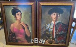 RARE PAIR VTG Carmen & Matador Barbara Weber Signed Wood Framed Pictures 28x21