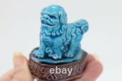 RARE Pair Foo Miniature Dogs 6 cm Chinese Porcelain XX Marked and Numbered
