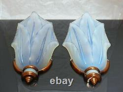 RARE Pair of Art Deco Wall Sconces by Ezan 1930 Opalescent Molded glass signed