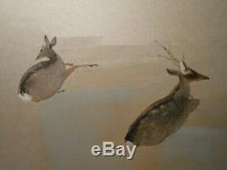 RESTING PAIR DEER' (JAPAN) MID-20TH C WithC SIGNED/STAMPED FAUX BAMBOO GOLD FRAME