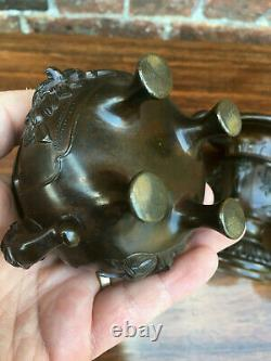 Rare Antique Chinese Bronze Censer With Matching Pair of Vases Signed