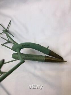 Rare Pair Artist Gino Bushini Bird Sculpture Candleholders Mid Century Signed