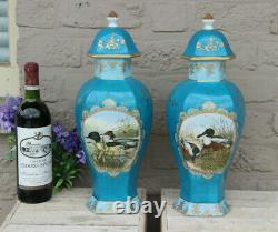 Rare Pair French Limoges signed vases duck animal water scene turquoise blue