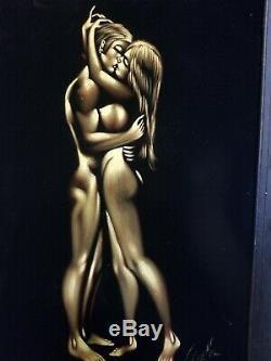 Rare Vintage Nude Couple Painting On Black Velvet Framed 29x 39 Signed