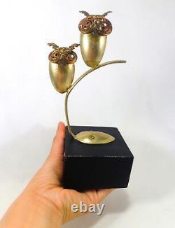 Raul Zuniga (mexico/us) 1972 Vintage Brutalist Metal Sculpture Pair Perched Owls