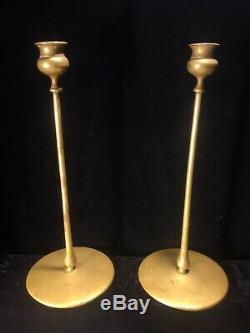 Robert Riddle Jarvie Pair Delta Brass Candlestick Signed Antique Original Candle