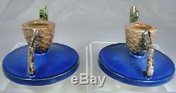 Roseville MATCHED SIGNED Pinecone Pair 1123 Candle Holders Sticks RICH BLUE
