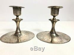 Roycroft Pair Of Candlesticks Acid Etched Silver Washed Signed Roycroft