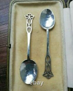 SIBYL DUNLOP rare pair 1925 of signed, silver Arts and Crafts spoons- wonderful