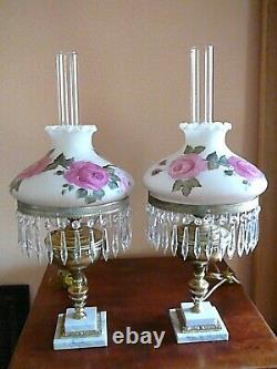 SIGNED Pair Vintage Antique Victorian Style Red Roses GWTW Hurricane Lamps 28