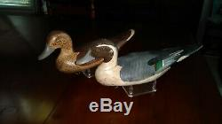 SIGNED R. Madison Mitchell Pintails 1954'Working Decoy' Pair, E/C