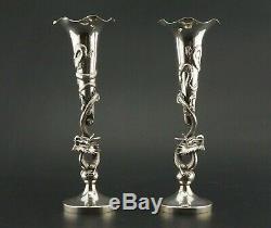 SUPERB! Pair 19th C Chinese Solid Sterling Silver Dragon Vase QING Hong Kong