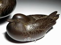 SUPERB SIGNED Mandarin duck Pair Okimono Bird Statue Japanese Original Antique