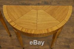 Satinwood Inlaid Pair of Half Round Demilune Console Tables, Signed Baker #32399