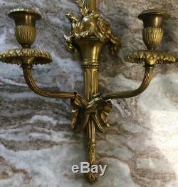 Set antique Wall sconces STERLING BRONZE 14K gold gilt Louis XVI bow fruit