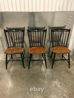 Set of 3 SIGNED L. HITCHCOCK CHAIR CO. PAIR OF SEAPORT CHAIRS