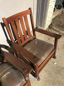 Signed Antique L&jg Pair Of Stickley Mission Rockers Rocking Chair Arts&crafts