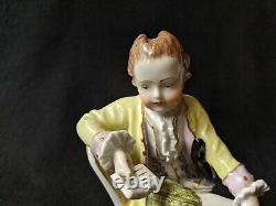 Signed Germany German Dresden Man Reading Woman Seated Figurine Pair Carl Thieme