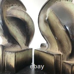 Signed Pair Mid Century Biomorphic Art Pottery Lamps by Marianna Von Allesch