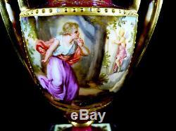 Signed Pair Of 19th Century Royal Vienna Pedestal Vases