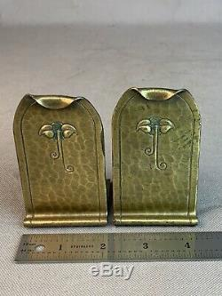 Signed Pair Roycroft Hammered Copper Bookends Arts & Crafts Mission Brass Wash