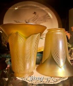 Signed Quezal, Pair Of Lovely Iridescent Art Glass Shade
