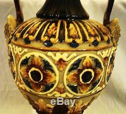Signed Wilhelm Strauss & Sons Pair of Continental Antique Majolica Vases