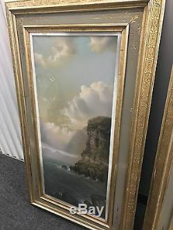 Signed pair of antique 19th C landscape oil on canvas painting\s