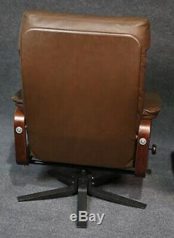 Skippers Mobler Pair Leather Signed Danish Modern Reclining Chairs W Ottomans