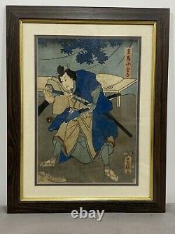 Stunning Antique Pair JAPANESE SAMURAI Woodcuts Beautiful Signed