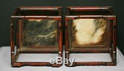 Superb Pair Of Antique Chinese Huanghuali Wood Marble Stand Signed & Dated 1779