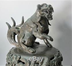 Superb Pair of Large MEIJI-ERA JAPANESE BRONZE Urns with Dragons c. 1860 antique