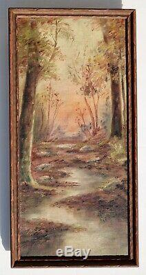 Two Pair of Antique Signed Framed Landscapes Original Oil Paintings on Canvas