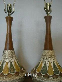 VTG Mid Century or Danish Modern Lamp PAIR Signed E. Bertolozzi Ceramic and Wood