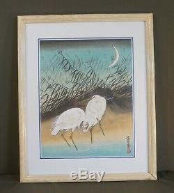 Very Fine Korean Hand Painting Pair of White Herons Signed & Framed