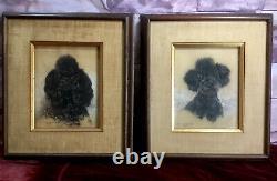 Vintage 1950s Original Pastel Portraits Pair Poodles Signed Bill McPherson