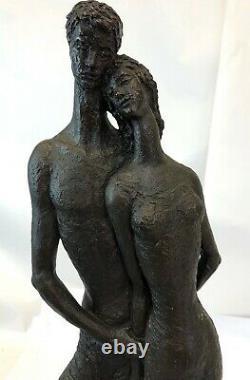 Vintage 1963 Austin Productions Schillac Signed Bronze Resin Love Couple Statue