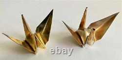 Vintage 20th Century Japan Pair of Pure Silver 950 Origami Crane Birds Boxed