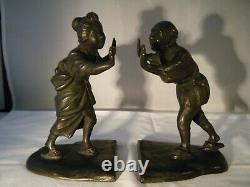Vintage Antique Japanese Couple in Traditional Dress signed Bronze Bookends
