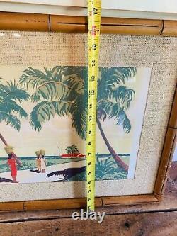Vintage Art Caribbean Set Serigraph Tropical Beach F. L. Saguild-signed Pair Of 2