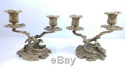 Vintage Brass Ornate Signed Pair of Antique French Cabinet Candlesticks Holders