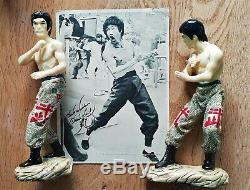 Vintage Bruce Lee original Ceramic Statues Kung Fu card signed 1976 Pair RaRe