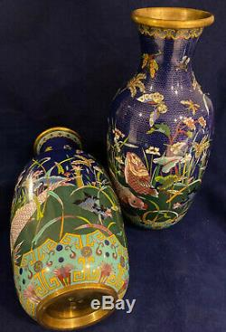 Vintage Chinese Pair of Matching Cloisonne Vases Carp Fish11 1/2 Signed