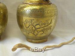 Vintage Chinese brass dragon vases, pair antique oriental engraved brass vases