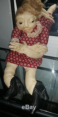 Vintage Folk Art Dolls Signed Ramona Audley 1977 Anatomically Correct Old Couple