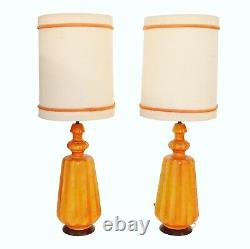 Vintage Mid Century Signed Modern Large Ceramic Table Lamps PAIR