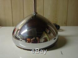Vintage Mid-Century Signed SONNEMAN Chrome Teardrop Base Floor Lamp PAIR